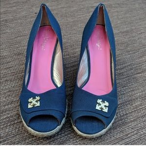 Lilly Pulitzer Resort Chic navy anchor wedges shoe